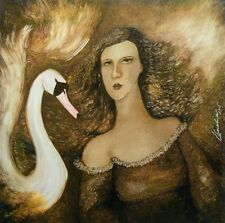 Leda and the Swan -Original Evelino Oil Painting,Unique,Contemporary,Hand Paint