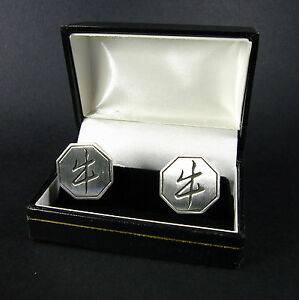 Chinese Zodiac Year of the OX Cufflinks Boxed Cuff Links Pewter FREE UK POST