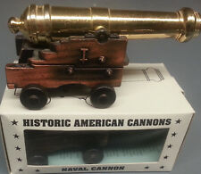 "NAVAL CANNON WITH BRASS PLATED BARREL 4 1/2"" LONG 2"" HIGH REPRODUCTION"