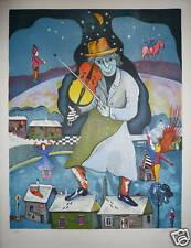 Minsky Lithographie signée musicien violoniste art russe