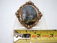 Reverse Hand Painted Landscape Portrait Eglomise Pin Miniature Gold  Dutch c1850
