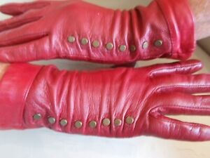 Deep Red Soft Leather Gloves * sz S/M * DOMINATRIX * OWK * MISTRESS * GOVERNESS