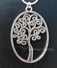 Oval Tree Pendant with 20inch sterling silver snake chain and pouch