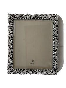 L'Objet Garland Platinum Crystal Picture Frame 8x10 Silver Crystal/Black Leather
