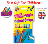 PACK OF 8 MAGIC COLOUR SWAP FIBRE PENS ASSORTED COLOURS NONTOXIC CHILDREN