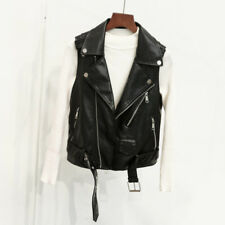 Ladies Faux Leather Black Waistcoat Gilet Biker Sleeveless Jacket Vintage Coats