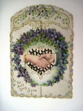 Victorian Christmas Card w/ Violets, Hands and Gold Glitter *