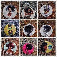 African Woman Afro Wooden Earrings Africa Ethnic Tribal  Jewellery