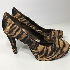 Nina 6 M Platform Heels Animal Print Touch Of Nina Brown Beige Round Toe Shoes