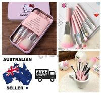 7 Pcs Hello Kitty Girls Eye Liner Lip Shadow Brushes Makeup Set In Metal Tin Box