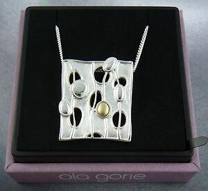 "Ola Gorie Silver Pendant 18"" Chain Mixed Metal Flow Scottish"