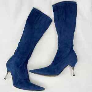 """Sergio Rossi Boots Blue Suede 37.5 Gold 3"""" Heel 6.5"""