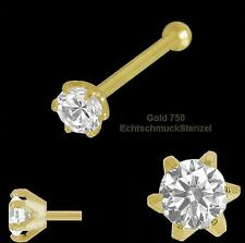 BRILLANT 750 Gold Nasenpiercing 6 Stotzen 2,5 mm Nasenstecker Kugelstift