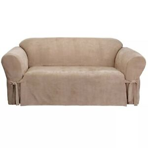 """Sure Fit- Soft Suede Sofa Slipcover, Taupe, Fits 74""""-96"""" W"""