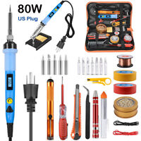 80W Soldering Iron Gun Kit LCD Digital Welding Wire Solder Tips Station US Plug