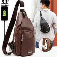 Men's Crossbody Chest Bag Waist USB Charging Leather Shoulder Sling Bag Backpack