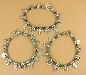 Silver and stone charm bracelet. Leaf, flower, dragonfly. Hilltribe silver. 925.