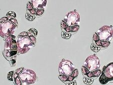 1Pc Miniature tiny Flatback crystal Halloween Skull head Pink Crystal NEW*