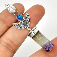 Crescent Moon - Amethyst Cylinder 925 Silver Pendant Jewelry PP191127