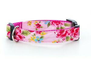 Pink Vintage Floral Handmade Dog Collar OR Lead. Size S- XL - 1 inch wide