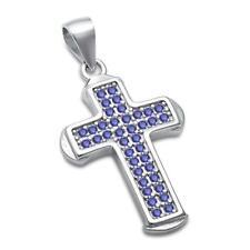 Blue Sapphire Cross .925 Sterling Silver Pendant
