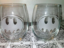 Batman  Wine Glasses - Hand Etched Wine Batman Wedding Glassware