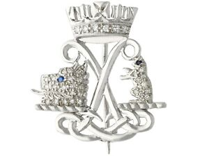 Diamond and Sapphire 9k White Gold Argyll and Sutherland Highlanders Brooch