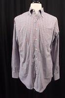 Peter Millar Mens Shirt L Large Plaid Long Sleeve L/S Dress Button Down Golf