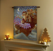 LED Light Fibre Optic Wall Tapestry Santa Father Christmas Reindeer Decoration