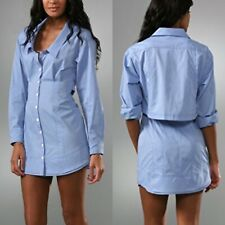 NWT $248 Nanette Lepore Women's 4 Charlotte Chambray Open Back Shirt Dress