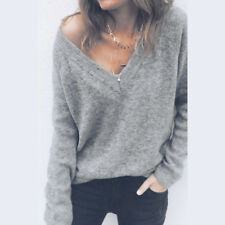 Women's Casual V-Neck Knitted Sweater Long Sleeve Loose Jumper Tops Knitwear NEW