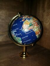 Rotating Globe Inlaid Lapis Semi Precious Gem Stones W Brass Stand
