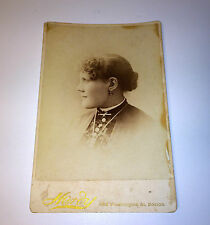 Antique Cabinet Photo Beautiful Woman W/ Large Rounded Chin, Diamond Earring! MA
