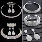 Trendy Crystal Diamond Choker Necklace Earrings and Bracelet Wedding Jewelry Set
