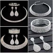 Trendy Crystal Diamond Choker Necklace Earrings and Bracelet Wedding Jewelry Set