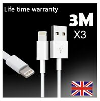 3x Extra Long 3M USB LEAD SYNC DATA CABLE CHARGER FOR iPhone 8 7 Plus 6 6S iPad