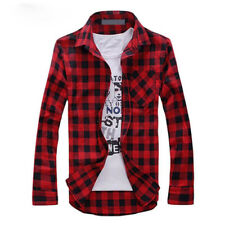 MENS CHECK SHIRT FLANNEL BRUSHED COTTON LONG SLEEVE CASUAL TOP