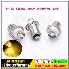 3 x P13.5s PR2 Warm White 0.5W Maglite LED Bulb 3V-18V Magnum Torch FLAHSLIGHT