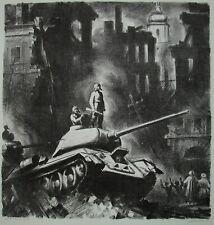 Russian Ukrainian Soviet Lithograph red army WW2 tankman soldier liberation