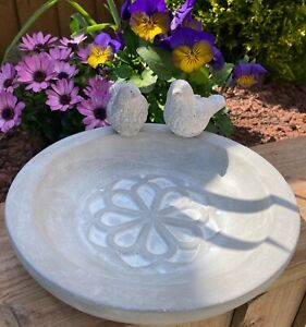 Stone Bird Bath/Feeder with 2 stone birds