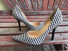 f4237f79828 BLacK WHiTe NEW 7 Checker Fabric Pointy Toe CARRIE Stiletto Heel PUMP GuESS  Grid
