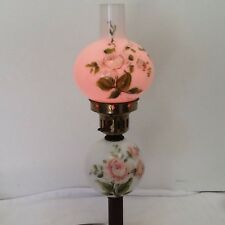 Vtg Mini Hand Painted Pink Rose Gone With The Wind Hurricane Parlor Banquet Lamp