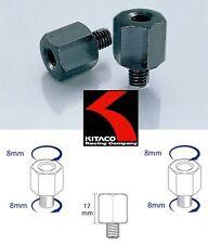 2 Raccordi adattatori specchietti moto CAFE' RACER fil.dx M8 Mirror Adapters
