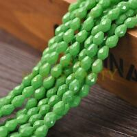 New Arrival 30pcs 8X6mm Faceted Teardrop Loose Spacer Glass Beads Green