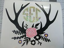 Floral Deer Antlers with monogram initials Sticker Decal