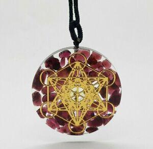 Garnet Necklace Orgone Pendant Quartz Crystal Healing Stone Orgonite Ruby Gem