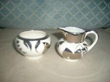 "Lancaster & Sandland Ltd  Creamer & Sugar 3""x 2"" silver wash pattern England"