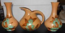 """circa 1930's ART DECO British 3 piece Ceramic Set 2 Vase 6-1/2"""" 1 Pitcher 5-1/4"""""""