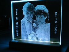 PERSONALIZED  GLASS PLATE LASER PHOTO WEDDING GIFT FAMILY KIDS PETS ANNIVERSARY