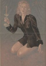 """""""PIN-UP à la CHANDELLE"""" Affiche originale entoilée CAROLS (BRENOT) 1950  34x51cm"""